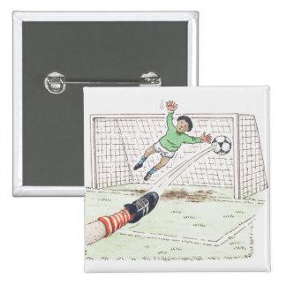 Ejemplo del fútbol de retroceso con el pie del pie pin cuadrado