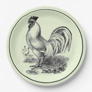 Ejemplo del gallo del vintage platos de papel