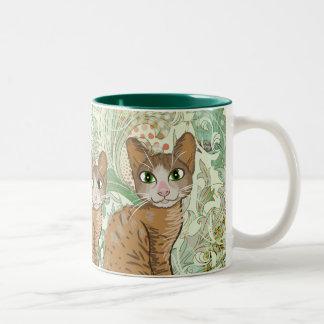 Ejemplo del gato de Brown - vintage floral verde Taza De Dos Tonos