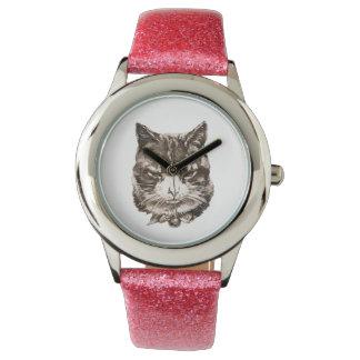 ejemplo del gato del vintage de la reproducción reloj