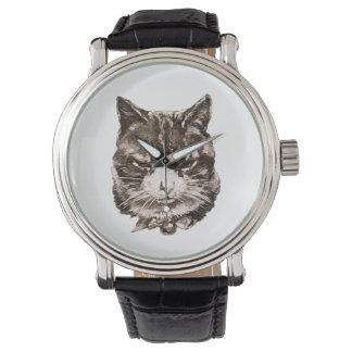 ejemplo del gato del vintage de la reproducción reloj de mano