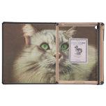 Ejemplo del gato del vintage, felino blanco iPad protectores