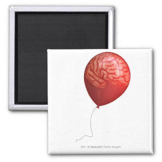 Ejemplo del globo con un cerebro sobrepuesto imán cuadrado