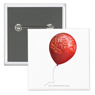 Ejemplo del globo con un cerebro sobrepuesto pin cuadrada 5 cm