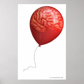 Ejemplo del globo con un cerebro sobrepuesto póster