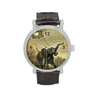 Ejemplo del globo del elefante y del aire caliente relojes de pulsera