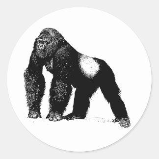 Ejemplo del gorila del Silverback del vintage, Pegatina Redonda