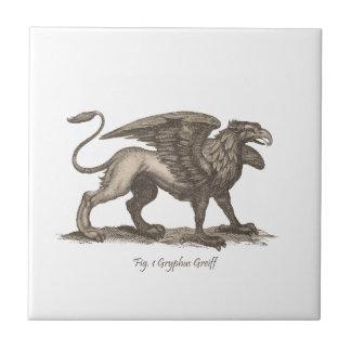 Ejemplo del grifo del vintage (greiff del gryphus) azulejo cuadrado pequeño