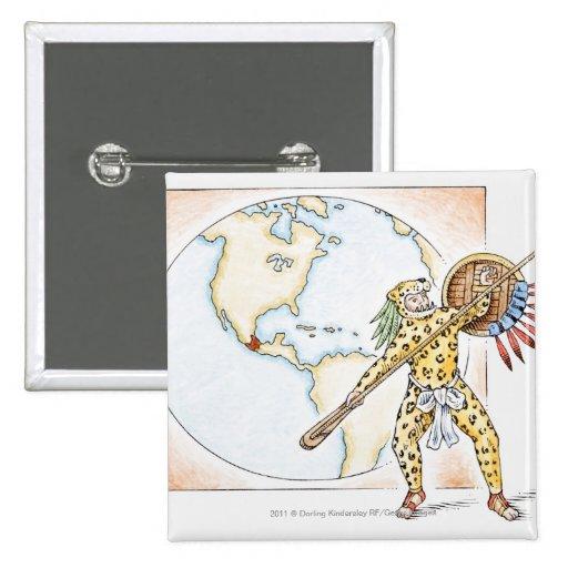 Ejemplo del guerrero azteca de Jaguar Pins