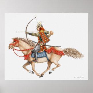 Ejemplo del guerrero temprano del samurai encendid póster