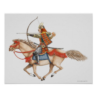 Ejemplo del guerrero temprano del samurai póster