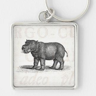 Ejemplo del Hippopotamus de los 1800s del vintage Llavero Cuadrado Plateado