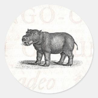 Ejemplo del Hippopotamus de los 1800s del vintage Pegatina Redonda
