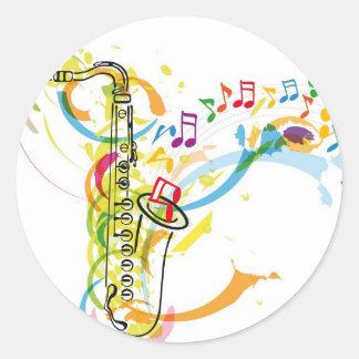 Ejemplo del instrumento de música pegatina redonda