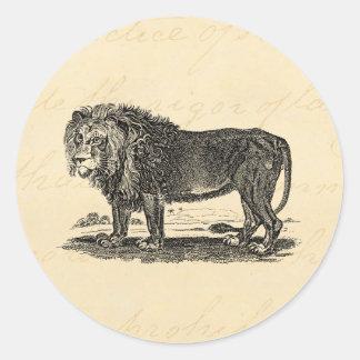 Ejemplo del león del vintage - animal del africano pegatina redonda
