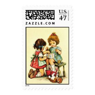 Ejemplo del libro de niños del vintage timbres postales