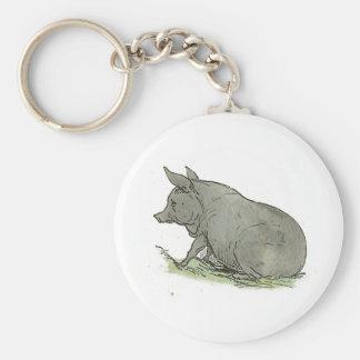 Ejemplo del libro guarro de niños del cerdo gris llavero redondo tipo pin