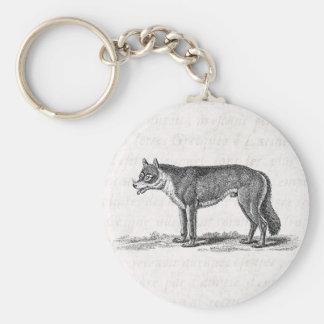 Ejemplo del lobo del vintage - plantilla de los lo llavero redondo tipo pin