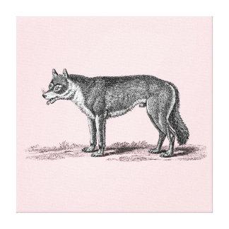 Ejemplo del lobo del vintage - plantilla de los lona envuelta para galerías