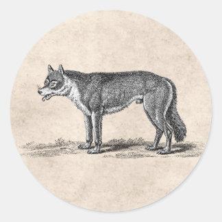 Ejemplo del lobo del vintage - plantilla de los pegatina redonda