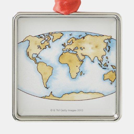 Ejemplo del mapa del mundo adorno navideño cuadrado de metal