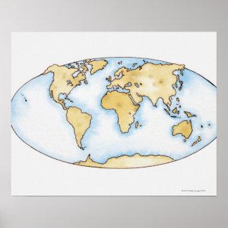 Ejemplo del mapa del mundo póster