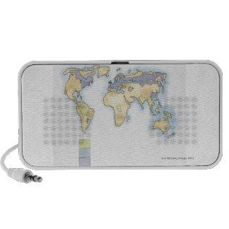 Ejemplo del mapa del mundo que muestra áreas altavoz de viajar