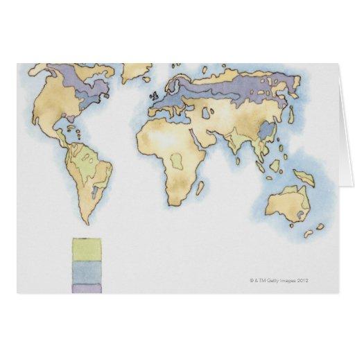 Ejemplo del mapa del mundo que muestra áreas felicitaciones