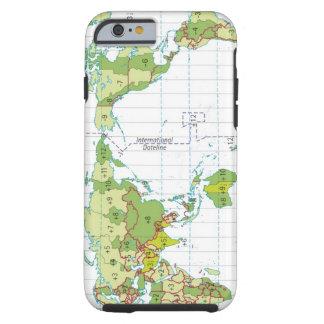 ejemplo del mapa del mundo que muestra tiempo funda de iPhone 6 tough