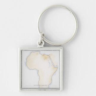 Ejemplo del mapa simple del esquema de África Llavero Cuadrado Plateado