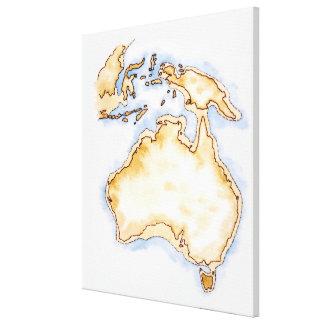 Ejemplo del mapa simple del esquema de Australia Impresión En Lienzo Estirada