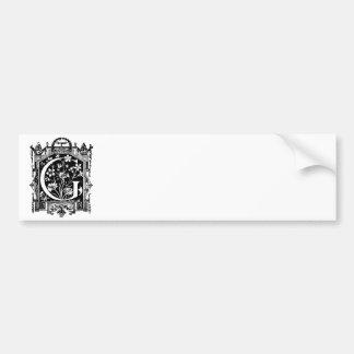 Ejemplo del monograma de G de la letra de los 1800 Etiqueta De Parachoque