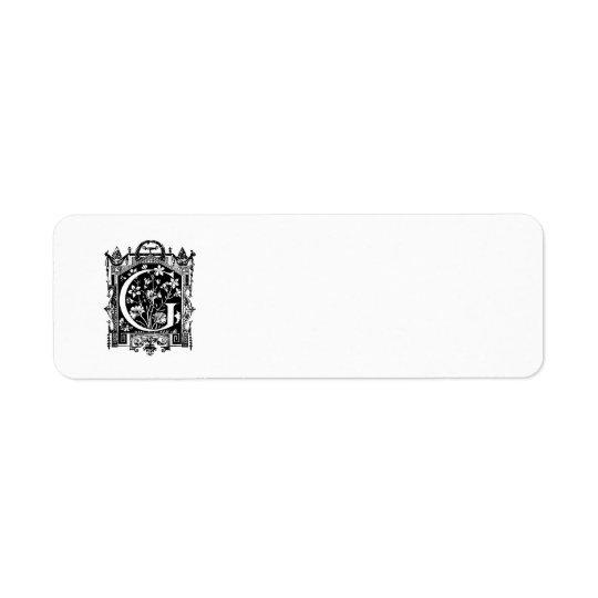 Ejemplo del monograma de G de la letra de los Etiqueta De Remitente