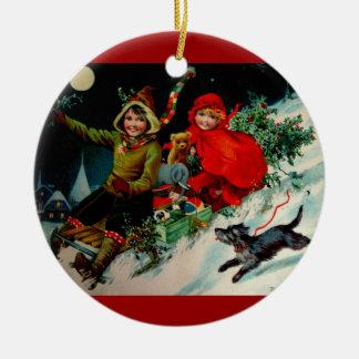 Ejemplo del navidad del Victorian del libro Adorno Redondo De Cerámica