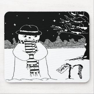 Ejemplo del navidad negro y blanco del muñeco de n tapete de ratones