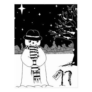 Ejemplo del navidad negro y blanco del muñeco de tarjeta postal