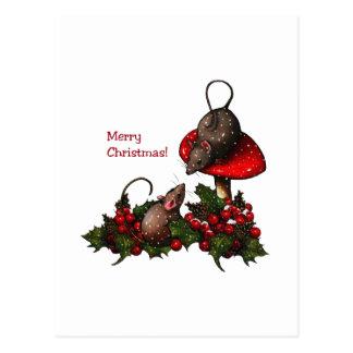 Ejemplo del navidad: Ratones, Toadstool, acebo, Tarjetas Postales