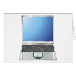 Ejemplo del ordenador portátil derecho tarjetón