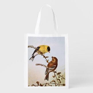 Ejemplo del pájaro de Goldfinchs del americano Bolsa Reutilizable