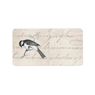 Ejemplo del pájaro de la canción del vintage - etiqueta de dirección