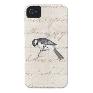 Ejemplo del pájaro de la canción del vintage - tex iPhone 4 Case-Mate fundas