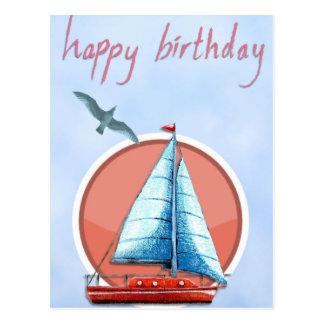 Ejemplo del pájaro de la nave del feliz cumpleaños postal