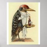 Ejemplo del pájaro del vintage del camarero de la  posters