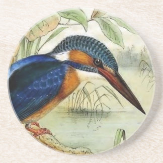 Ejemplo del pájaro del vintage del martín pescador posavasos diseño