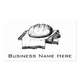 Ejemplo del pan del vintage, línea arte negra tarjeta de visita