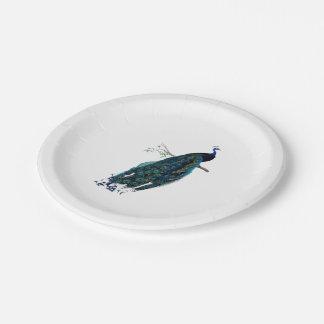 Ejemplo del pavo real del vintage plato de papel de 7 pulgadas