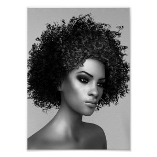 Ejemplo del pelo 3D del Afro Póster