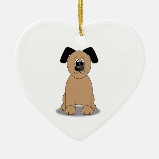 Ejemplo del perro adorno de cerámica en forma de corazón