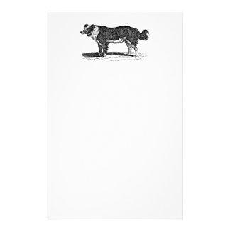 Ejemplo del perro del border collie de los 1800s papelería de diseño