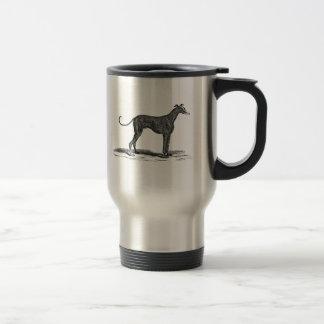 Ejemplo del perro del galgo de los 1800s del taza de viaje
